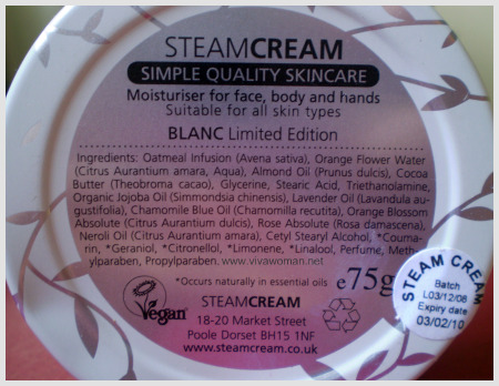 steam cream ingredients