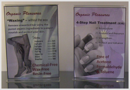 organic waxing menu