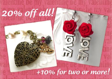 VDay love: 20% + 10% off handmade jewelry