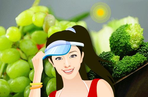 Grapes and broccoli as vegetal sun protectors