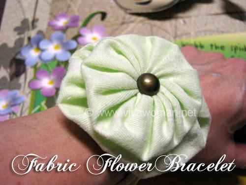 DIY fabric flower bracelet from an old sweatshirt