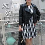 Leather jacket, monochrome dress & biker chic