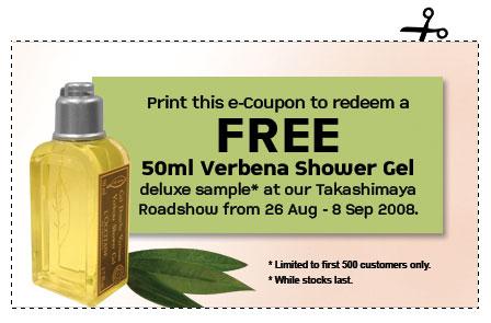 Free 50ml L'Occitane Verbena Shower Gel