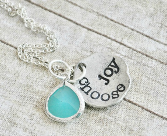 CHOOSE JOY - Hand Stamped Pewter Necklace with Aqua Stone