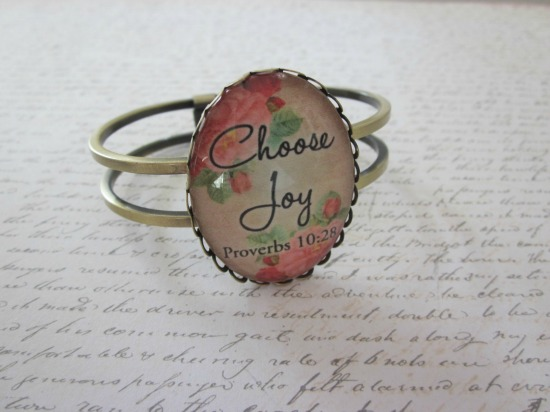 Choose Joy Proverbs 10:28 Vintage Rose Glass Lace Hinge Bracelet Antique Brass