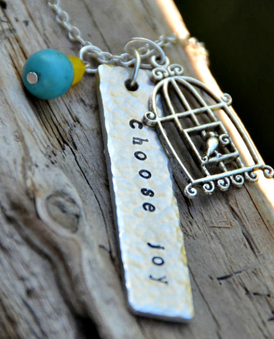 Choose joy metal stamped necklace