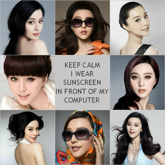 China Celebrity Fan Bingbing wears sunsceen even when sitting in front of computer