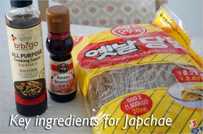 ingredients for Korean Japchae